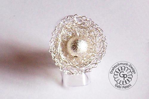 gehäkelter Sterling Silber Ring aus Draht